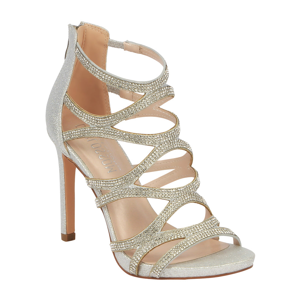 Charlotte-11 Rhinestone Cage High Heeled Dress Sandal- Silver