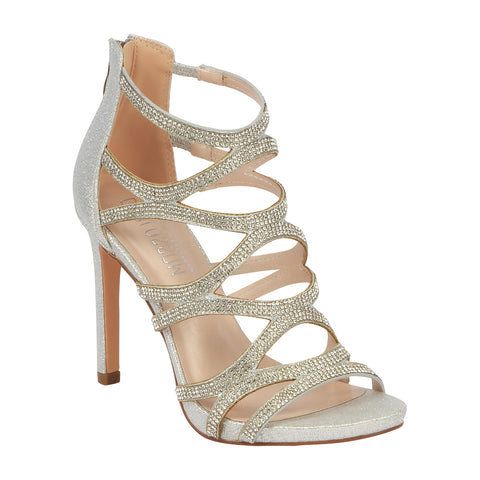 363312edfa2 Charlotte-11 Rhinestone Cage High Heeled Dress Sandal- Silver
