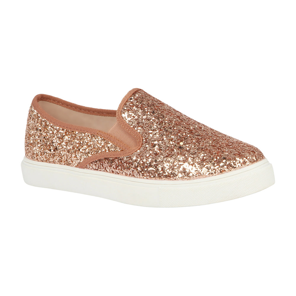 CHERRY-41 Glitter Slip-On Sneaker- Rose Gold