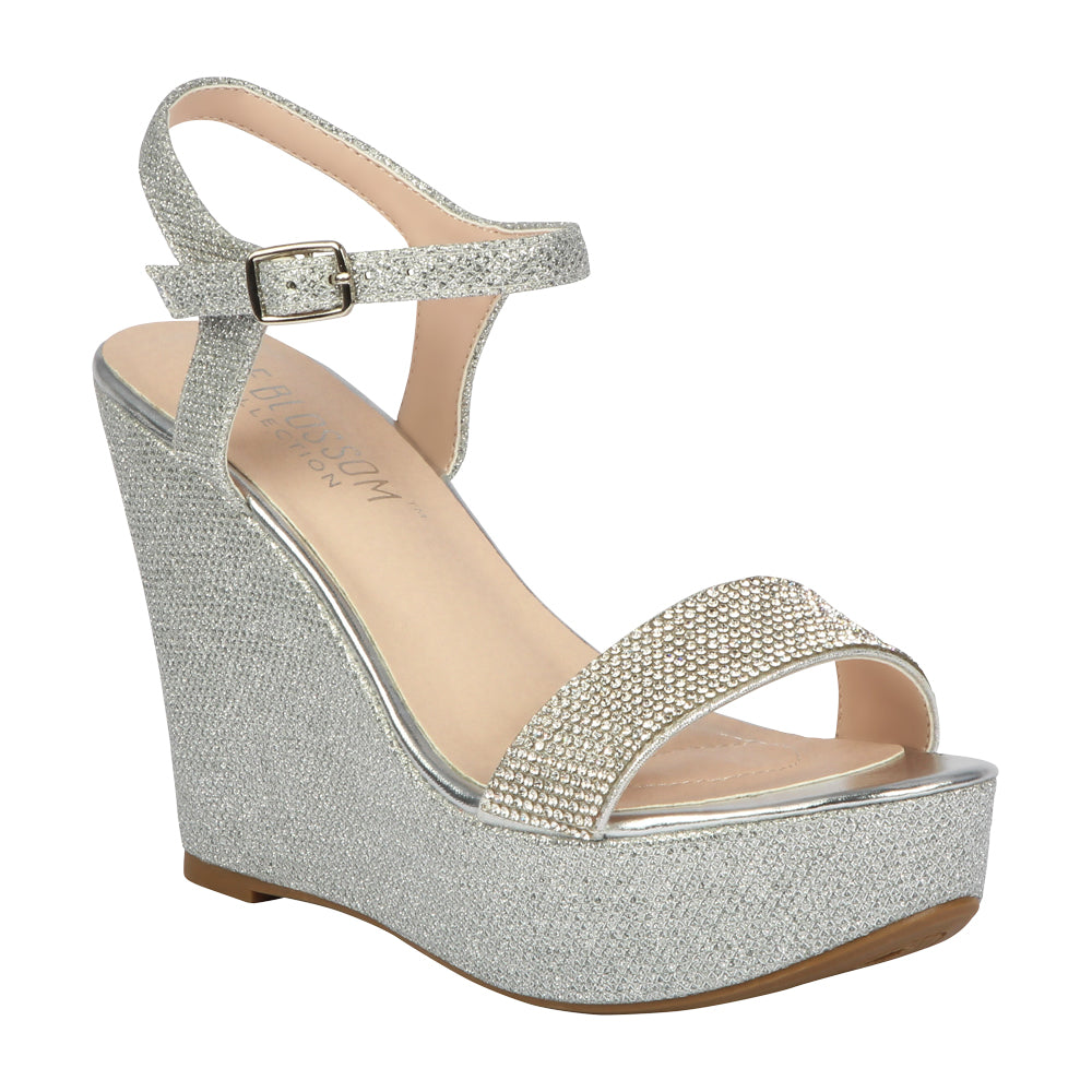 CHRISTY-51 Women's Rhinestone Wedge- Silver