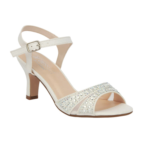 Crystal-178BW Low Heel Wide Width Bridal Sandal with Rhinestones-White