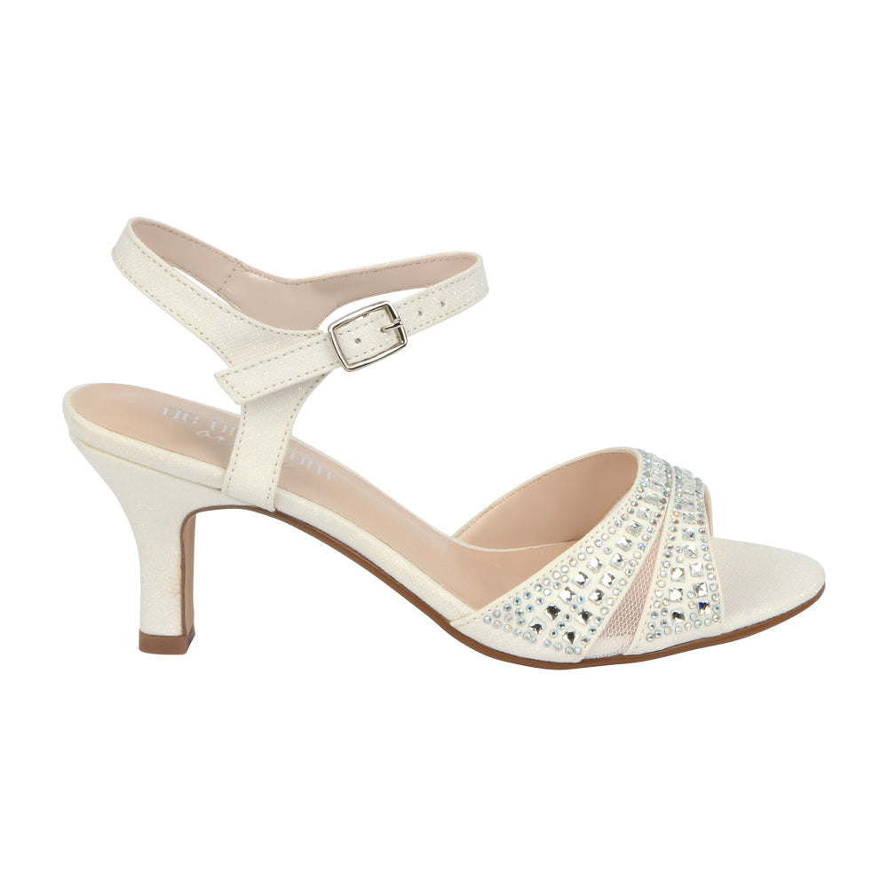 Crystal-178BW Low Heel Wide Width Bridal Sandal with Rhinestones-White, Low Heels- De Blossom Collection