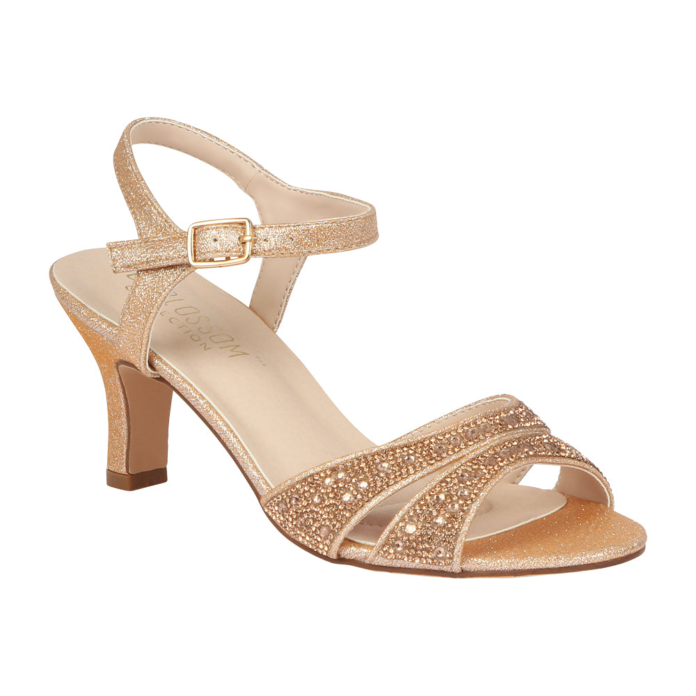 CRYSTAL-180W Wide-Width Low Heeled Sandal- Rose Gold