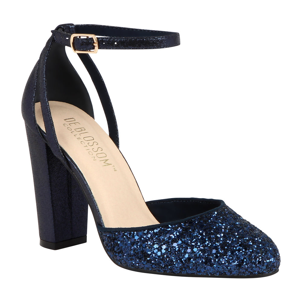 DAWN-1 Glitter Evening Shoe -Navy