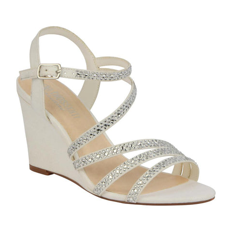 De Blossom Bridal Women's Strappy Low Single Sole Bridal Wedge with Rhinestone Details- White