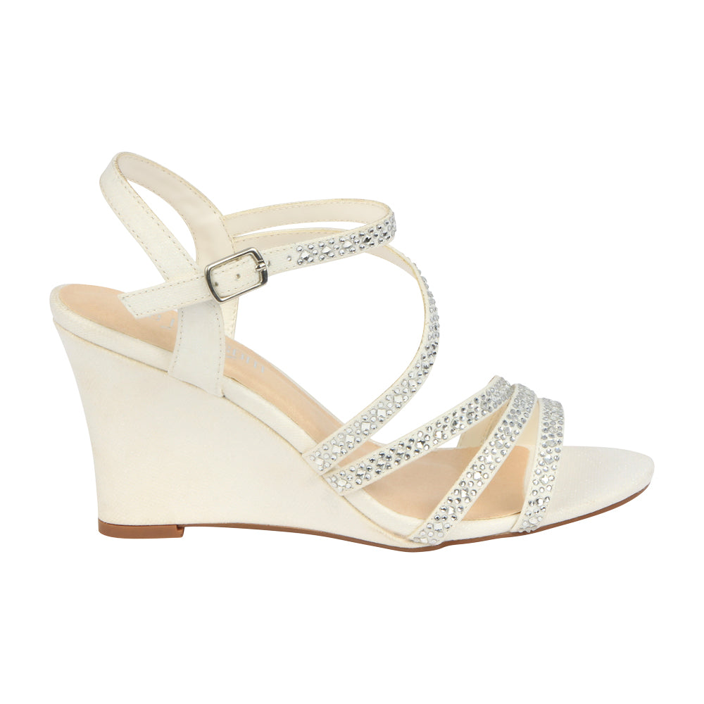 De Blossom Bridal Women's Strappy Low Single Sole Bridal Wedge with Rhinestone Details- White, De Blossom Bridal- De Blossom Collection