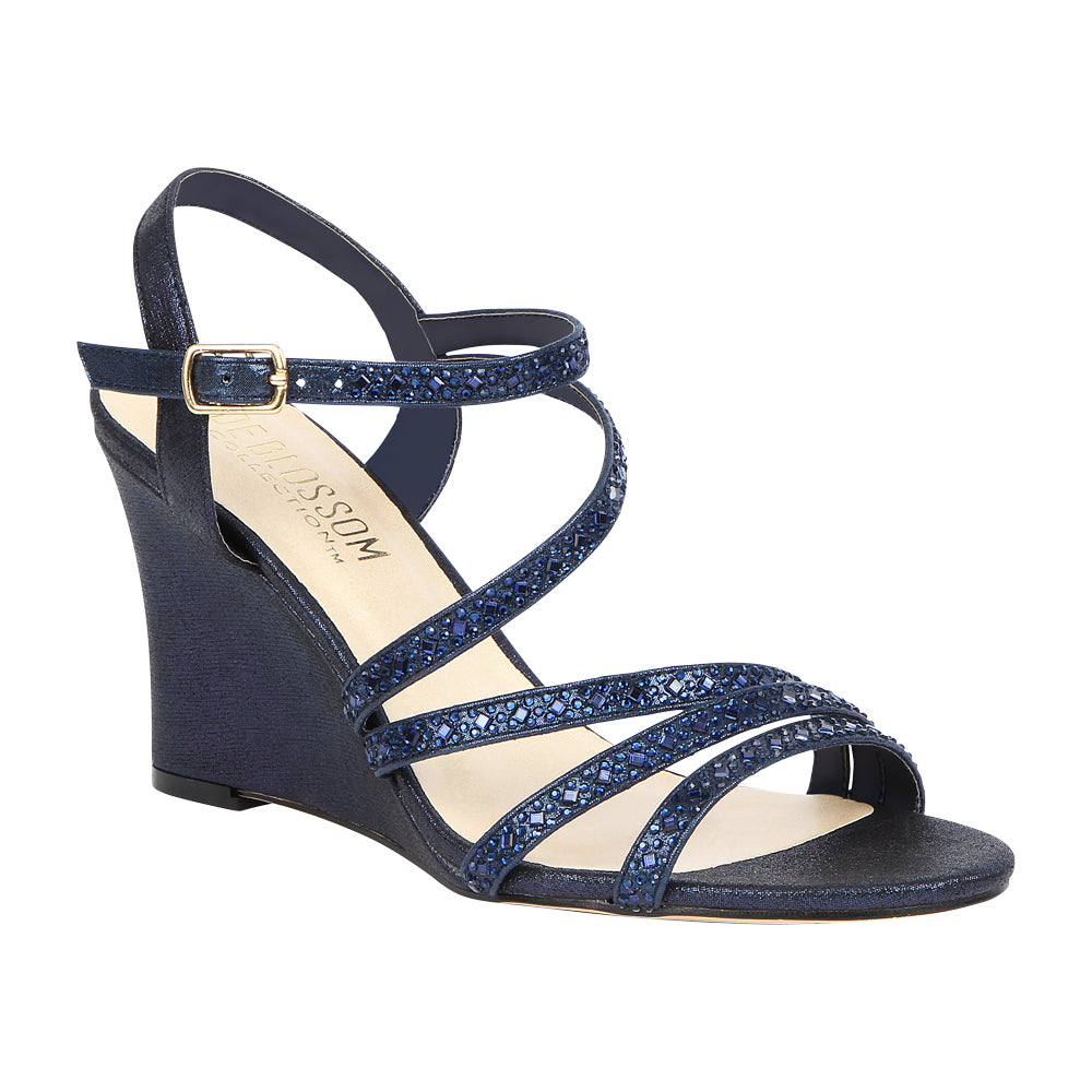c907318b63 Emma-5 Women's Strappy Rhinestone Wedge Sandal- Navy, Wedges- De Blossom  Collection