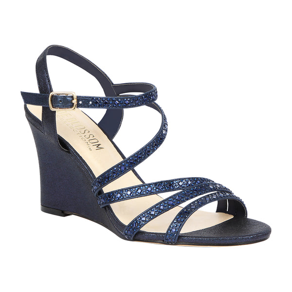Emma-5 Women's Strappy Rhinestone Wedge Sandal- Navy