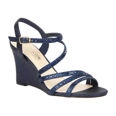 Emma-5 Women's Strappy Rhinestone Wedge Sandal- Navy, Wedges- De Blossom Collection