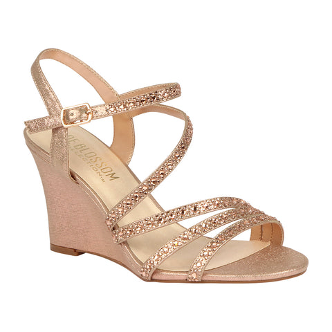 EMMA-5 Rose Gold Sparkle Rhinestone Low Wedge