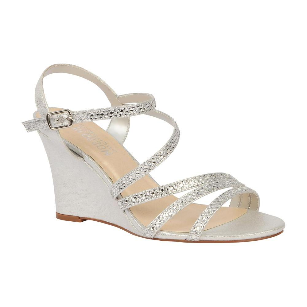 2ae51b6968 ... Emma-5 Women's Strappy Rhinestone Wedge Sandal- Silver. Women's Mid  Wedge with Sparkle Rhinestones