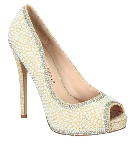 Eternity-106 Pearl Bridal Peep Toe High Heel Shoe- Nude, Heels- De Blossom Collection
