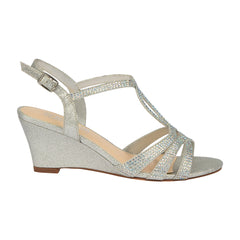 Field-15 Women's Mid Heel T-Strap Wedge- Silver, Wedges- De Blossom Collection