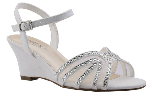 FIELD-18B Low Wedge with Rhinestones- White