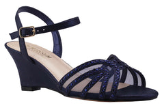 FIELD-18 Low Wedge with Rhinestones- Navy