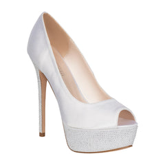 HAILEY-2B- White Satin Platform Bridal Shoe- White Satin, High Heels- De Blossom Collection