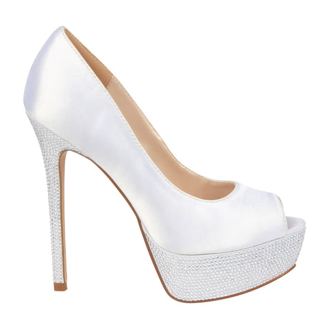 HAILEY-2B White Satin Platform Bridal Shoe- White