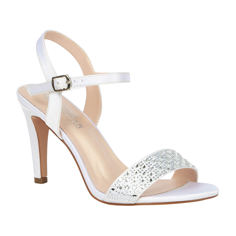 Hannah-10B White Satin Mid Heel with Rhinestones