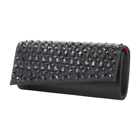 HB-81B Women's Sparkle and Rhinestone Foldover Evening Bag- Black