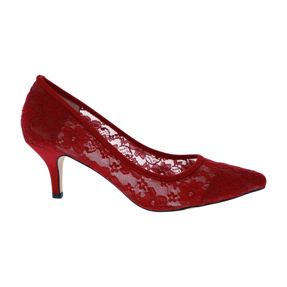HURLEY-15 Lace Pointed Toe Heel- Wine