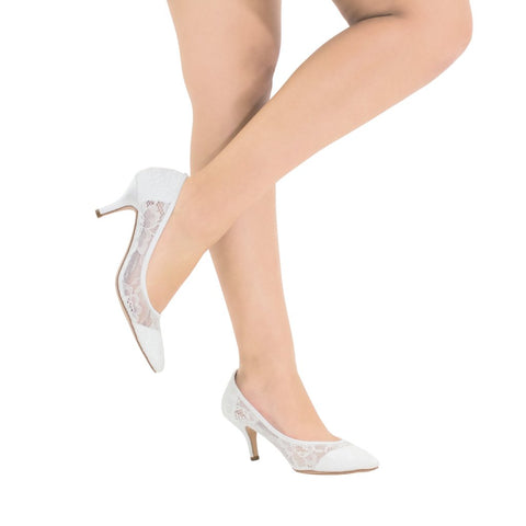 Hurley-15B Lace Pointed Toe Heel- White