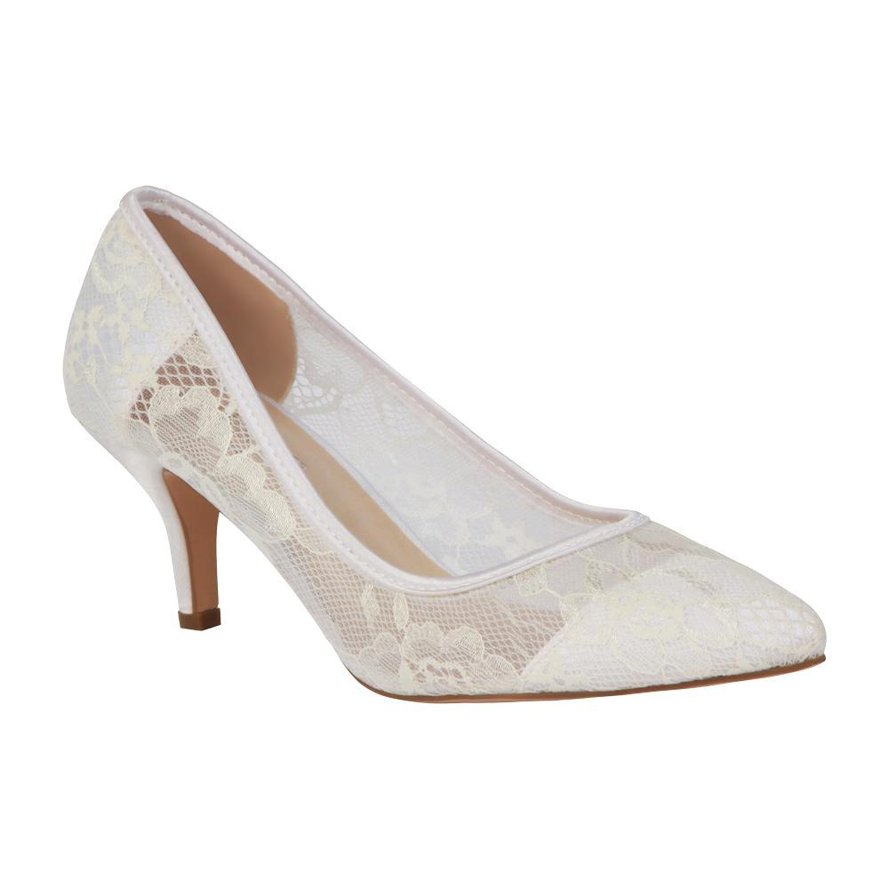 Hurley-15B Lace Pointed Toe Heel- White, Low Heels- De Blossom Collection
