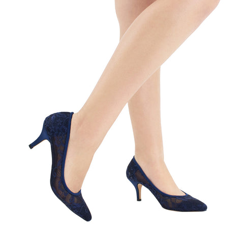 HURLEY-15 Lace Pointed Toe Heel- Navy