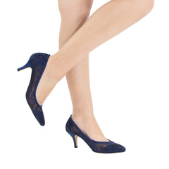 HURLEY-15 Lace Pointed Toe Heel- Navy, Low Heels- De Blossom Collection