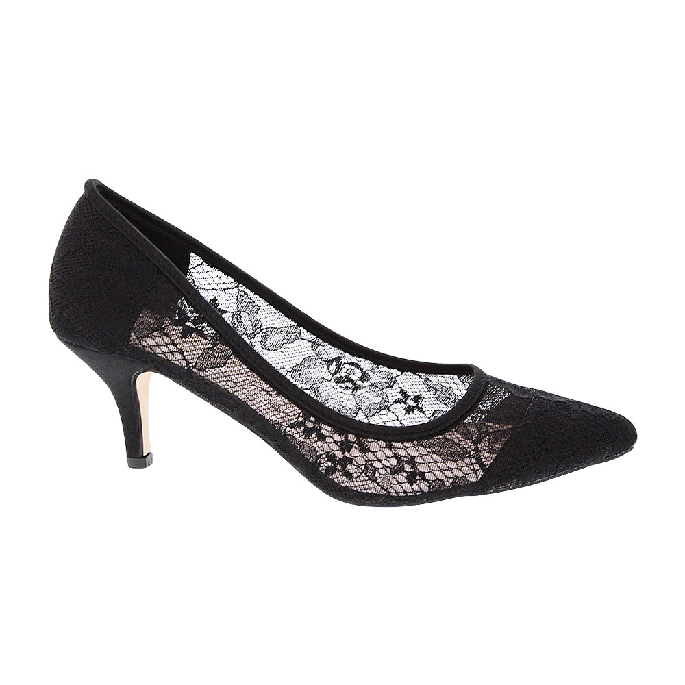 HURLEY-15 Women's Lace Pointed Toe Heel- Black, De Blossom Collection- De Blossom Collection