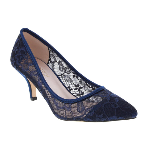 HURLEY-15 Women's Lace Pointed Toe Heel- Navy