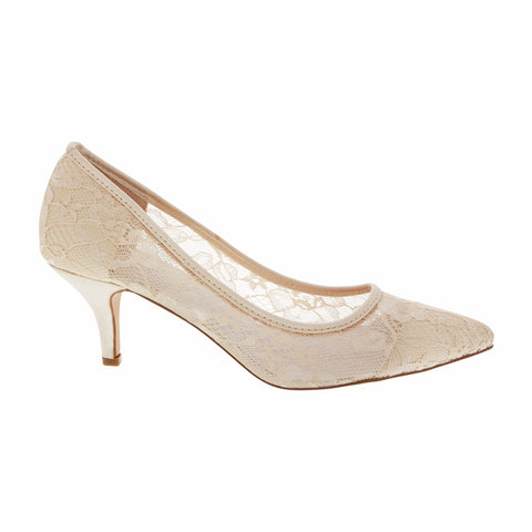 HURLEY-15 Women's Lace Pointed Toe Heel- Nude