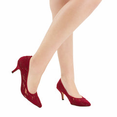 HURLEY-15 Women's Lace Pointed Toe Heel- Wine, De Blossom Collection- De Blossom Collection