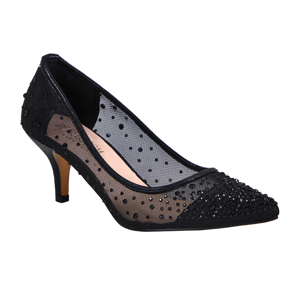 Hurley-1 Kitten Heel- Black, Low Heels- De Blossom Collection