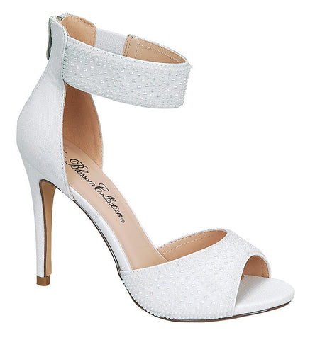 Isabella-1 Women's Pearl Single Sole Bridal Shoe- White