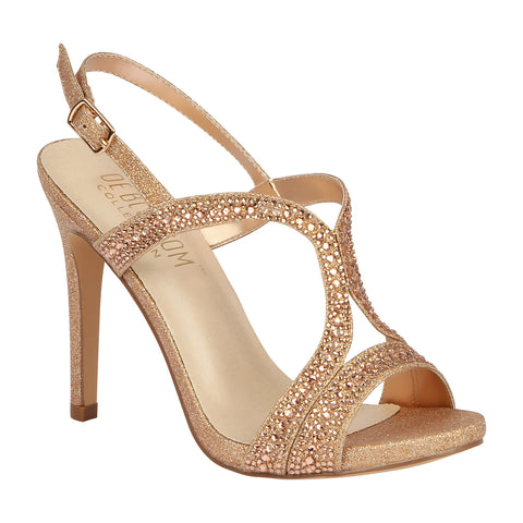 ISABELLA-95 Rhinestone Embellished High Heeled Sandal- Rose Gold