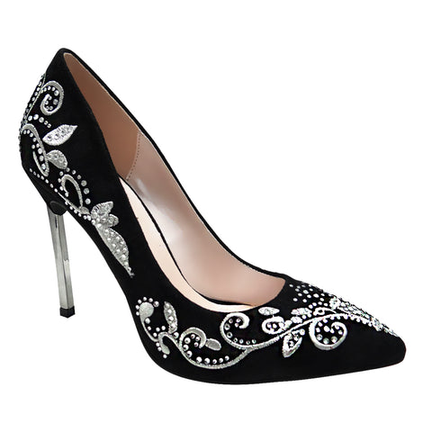 Janice-12 Embroidered Suede Pump- Black