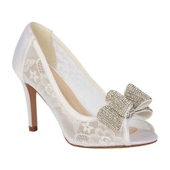 Jolie-14B Women's Bridal Lace Peep Toe Mid-Heel with Sparkly Bow- White, De Blossom Bridal- De Blossom Collection