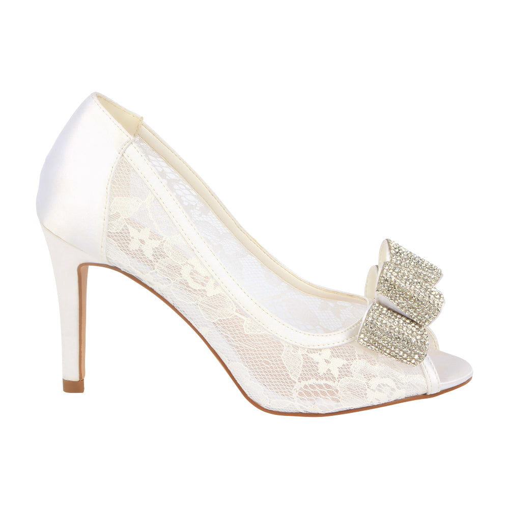 c18c72f592 Jolie-14B Women's Bridal Lace Peep Toe Mid-Heel with Sparkly Bow- White