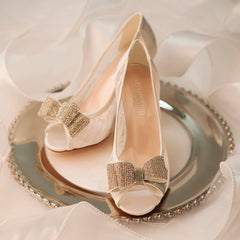 Jolie-14B Women's Bridal Lace Peep Toe Mid-Heel with Sparkly Bow- White