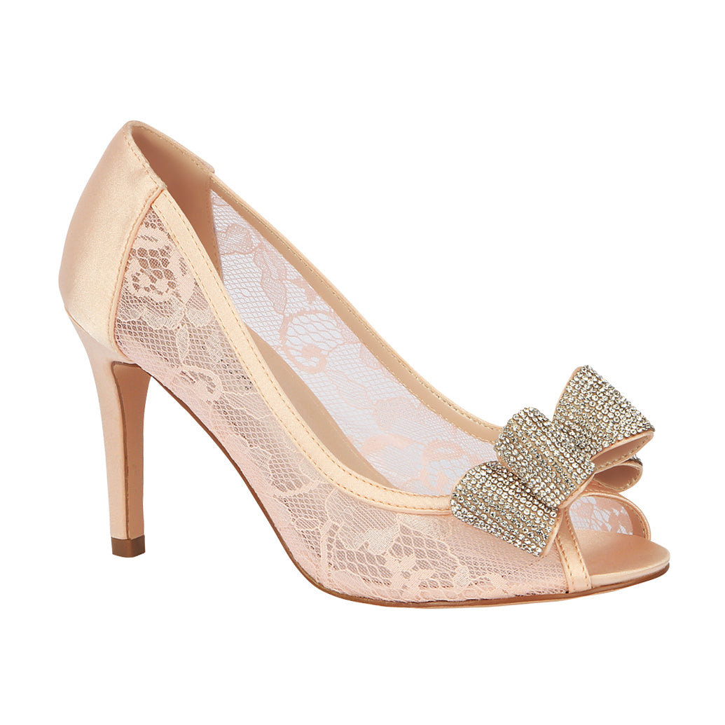 Jolie-14 Lace Peep Toe Mid-Heel with Sparkly Bow- Pink, De Blossom Collection- De Blossom Collection