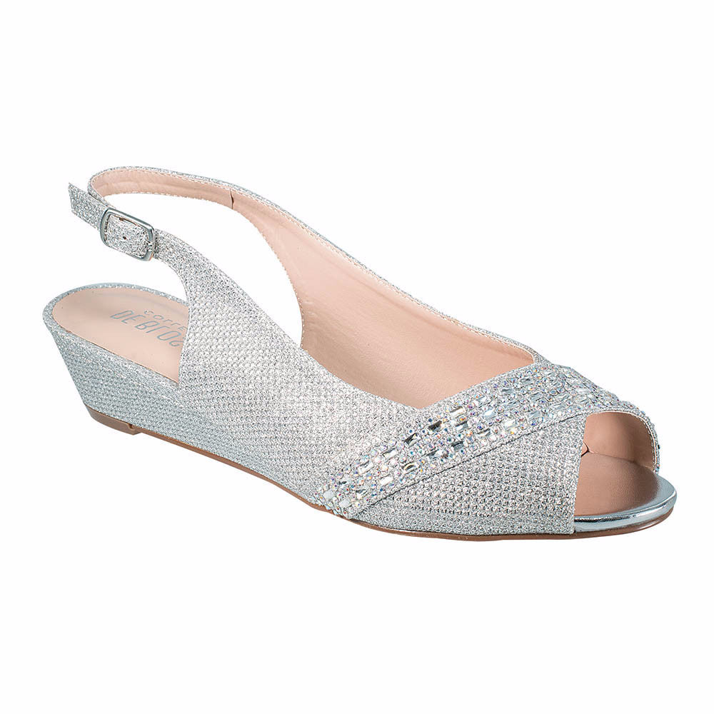 Justin-12 Silver, Low Heels- De Blossom Collection