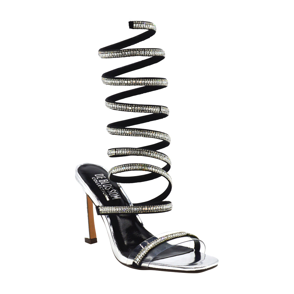95d1005ac36faa Kylie-1 Rhinestone Wrap Heeled Sandal- Silver – De Blossom Collection