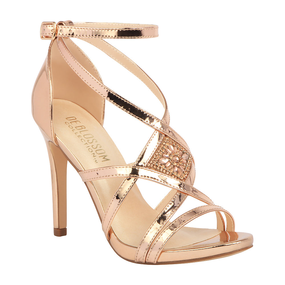 48ab02376 LEAH-1 Metallic Strappy High Heeled Sandal- Rose Gold – De Blossom  Collection