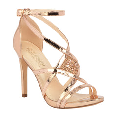 LEAH-1 Metallic Strappy High Heeled Sandal- Rose Gold