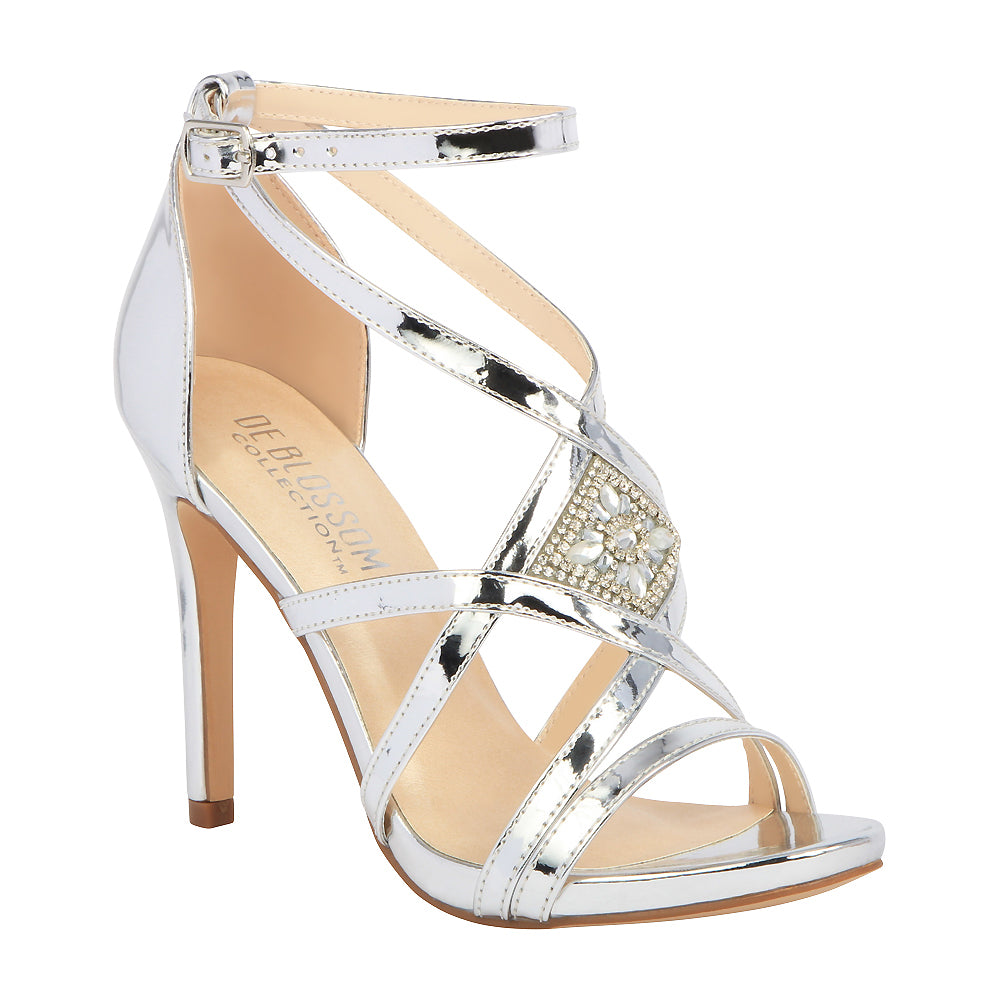 a4c8d7cf195 LEAH-1 Metallic Strappy High Heeled Sandal- Silver – De Blossom Collection