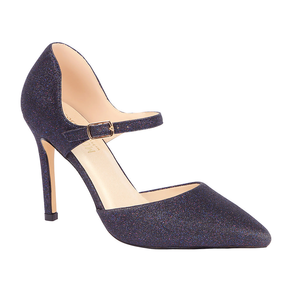 Lola-11 Women's Glitter Pointed Toe Pump- Navy, Heels- De Blossom Collection