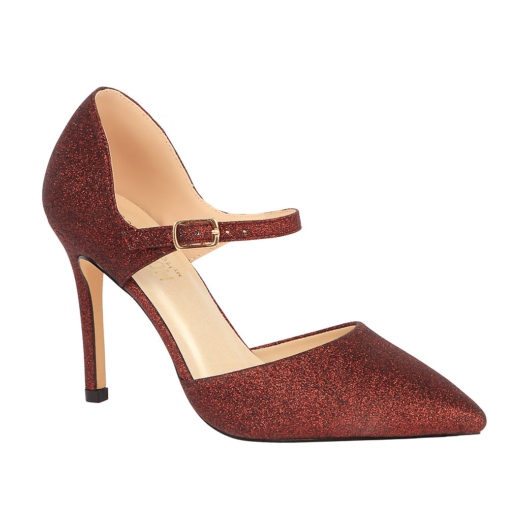 Lola-11 Women's Glitter Pointed Toe Pump- Wine, De Blossom Collection- De Blossom Collection