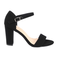 MELANIE-21 Single Sole Black Heeled Sandals