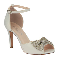 Paris-15B Satin Peep Toe High Heel with Rhinestone Bow- Ivory
