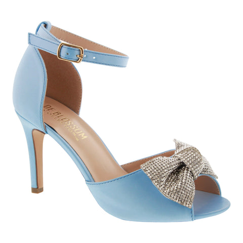 Paris-15 Satin Peep Toe High Heel with Rhinestone Bow- Blue